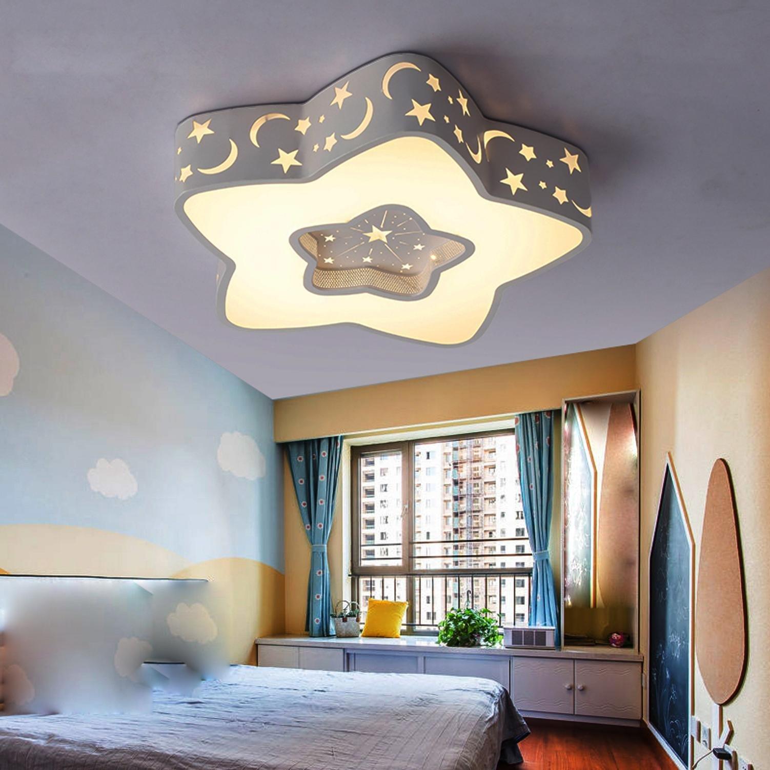 Maniny Children room ceiling lamp girl bedroom princess star room warm cartoon boy creative pentagram lamp care eye Lighting