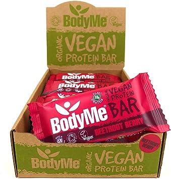 BodyMe Barritas Proteinas Veganas Organica   Cruda Remolacha Baya   12 x 60g Barra Proteina Vegana   Sin Gluten   16g Proteína Completa   3 Proteina ...