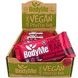 BodyMe Organic Vegan Protein Bar | Raw Beetroot Berry | 12 x 60g Vegan Protein Snack Bars | Gluten Free | 16g Complete Protein | 3 Plant Proteins All Essential Amino Acids | High Protein Vegan Snacks