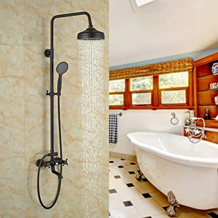 Votamuta Modern Oil Rubbed Bronze Rainfall Shower Faucets Set Black ...