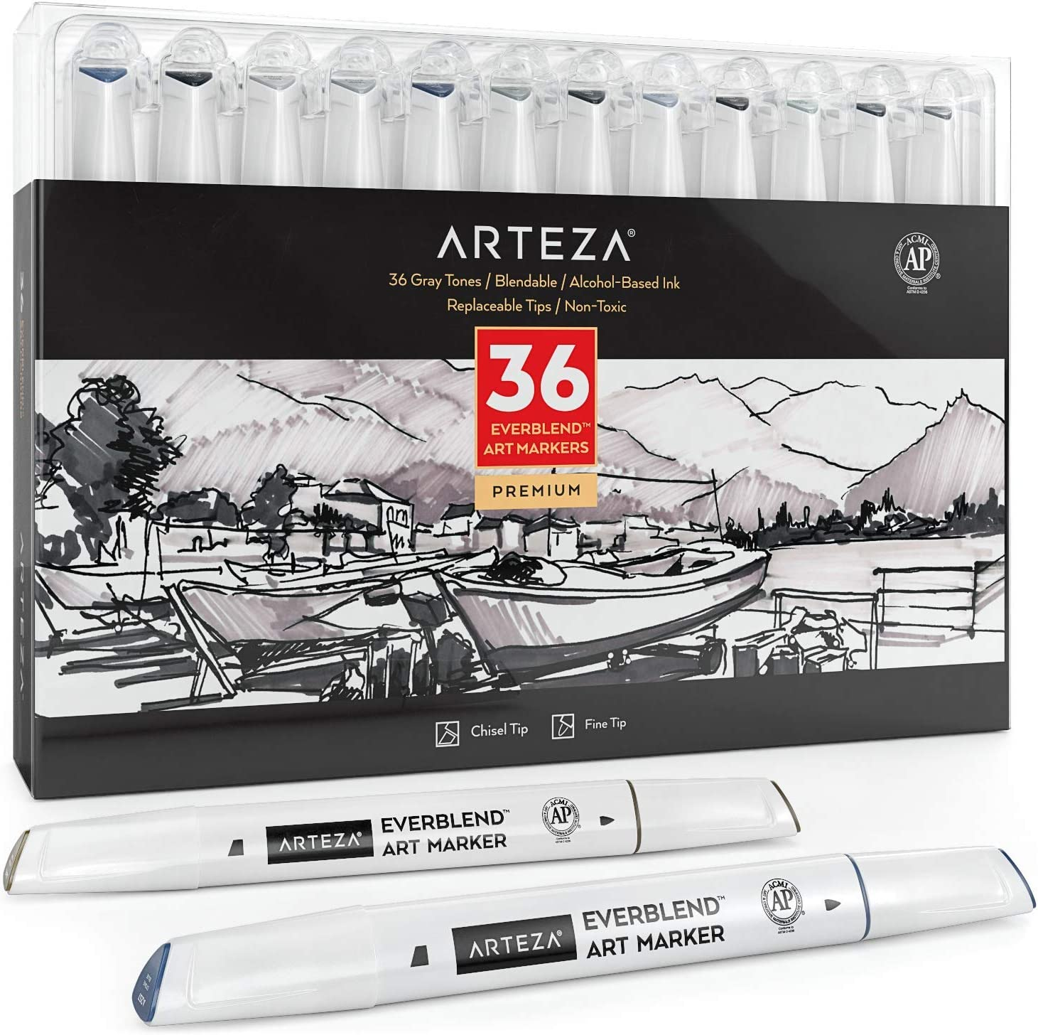 ARTEZA Gray Tone Alcohol Based Everblend Art Markers, Set of 36 Colors, Sketch Markers with Dual Tips (Fine and Broad Chisel) for Painting, Coloring, Sketching and Drawing