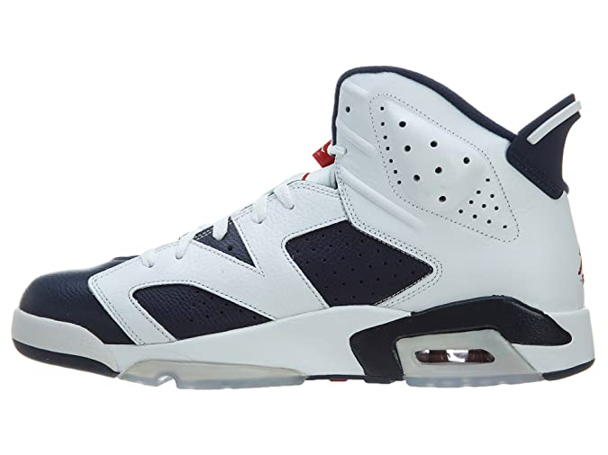 new product f6640 588a1 Amazon.com   Nike Mens Air Jordan 6 Retro Olympic White Midnight Navy-Varsity  Red Leather Basketball Shoes Size 9.5   Fashion Sneakers