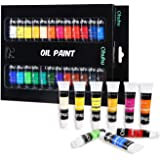 Ohuhu Oil Paint Set, 24 Oil-Based Colors, Artists Paints Oil Painting Set, 12ml x 24 Tubes Great Valentine's Day Back to School Gifts Ideal
