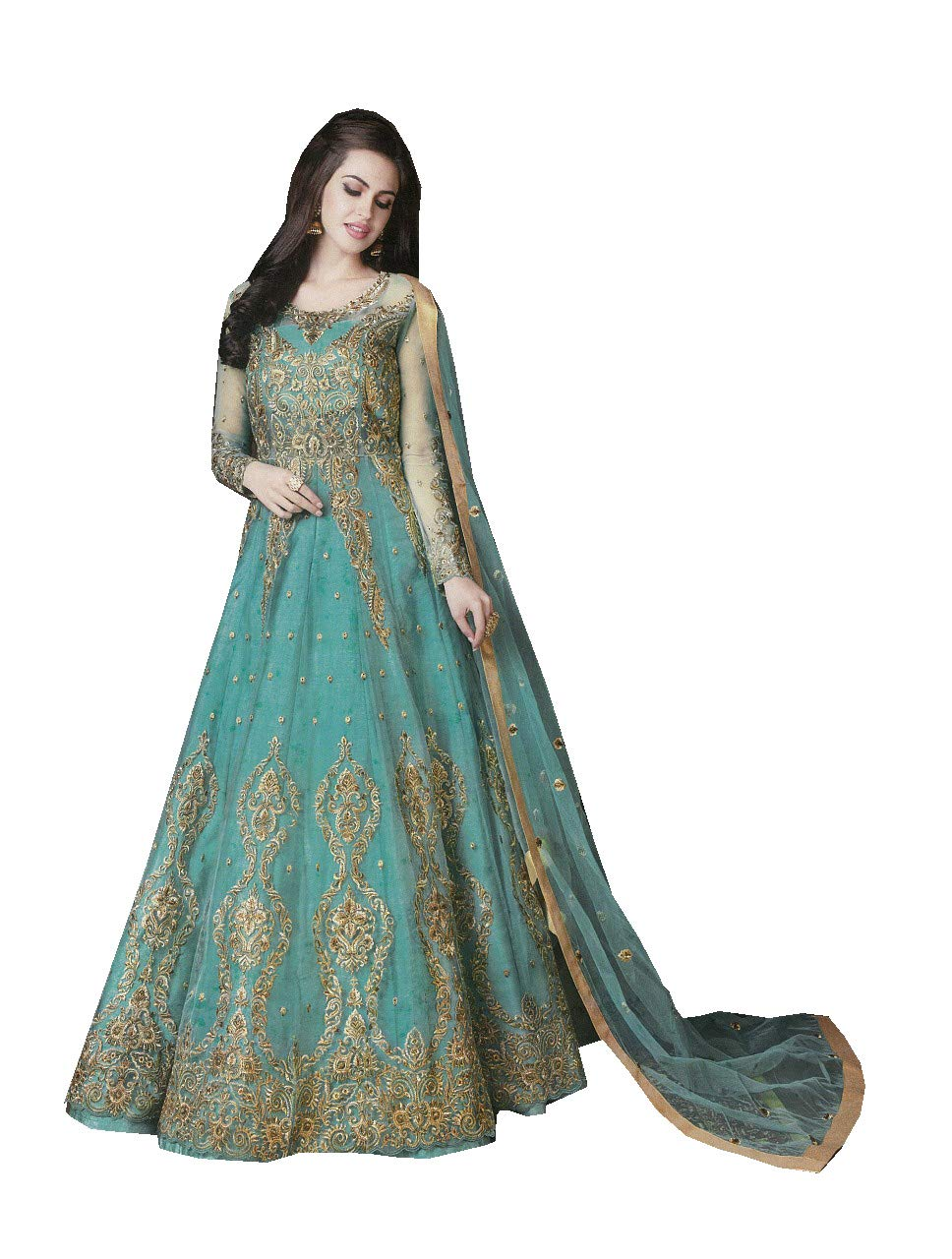 ziya Women's Indian Pakistani Collection with Heavy net Salwar Suit R 10017 (Rama, XS-36)