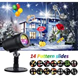 Holiday Lights Projector, LED Waterproof Star Rotating Snowflake Motion Shower Landscape Projection Slide Show Lighting Display for Holiday House Garden Birthday Halloween Party Xmas Decorations