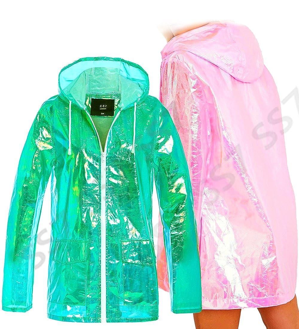 SS7 Frauen Holographic Regen Mac Wasserdichte Regenjacke Damen Rosa Jacke Gr/ö/ße 36-44