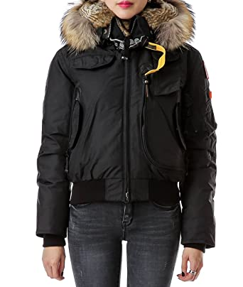 Wiberlux Parajumpers Gobi Women's Fuzzy Trim Hood Zip-Front Down Jacket XS Black