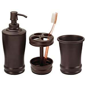 mDesign Metal Bathroom Vanity Countertop Accessory Set - Includes Refillable Soap Dispenser, Divided Toothbrush Stand, Tumbler Rinsing Cup - 3 Pieces - Bronze