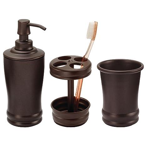 mDesign Set da 3 Accessori per il bagno eleganti - Set accessori ...