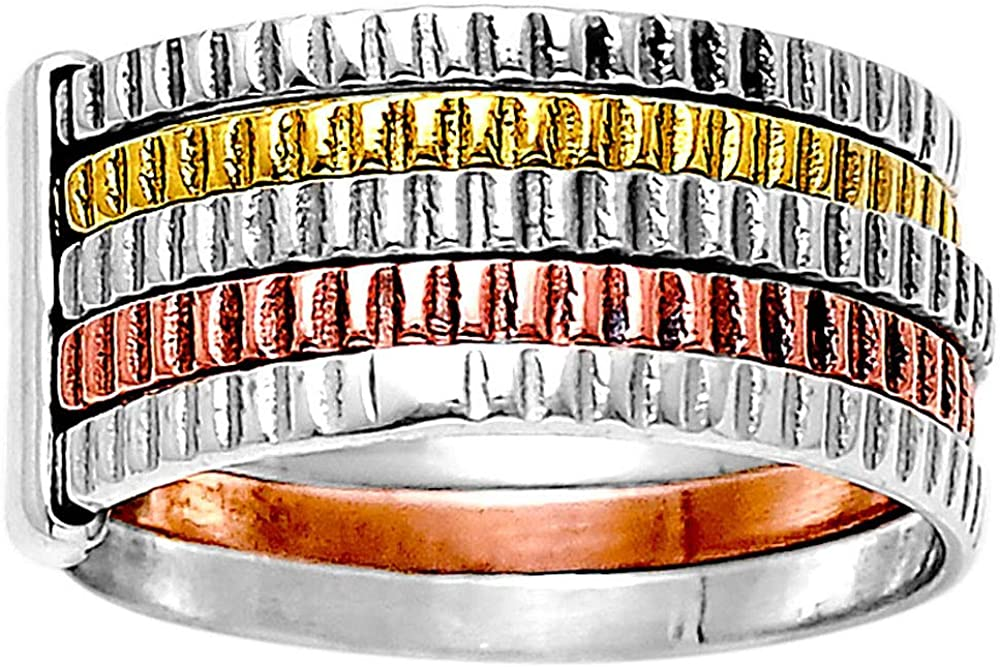 Desiregem Multi Tone 5 Layers Stackable Handcrafted 925 Sterling Silver Ring DGR1060 6.5