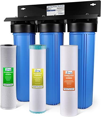 iSpring WGB32B-KS 3-Stage Heavy Metal Reducing Whole House Water Filtration System w 20-Inch Big Blue Sediment, KDF, and Carbon Block Filters