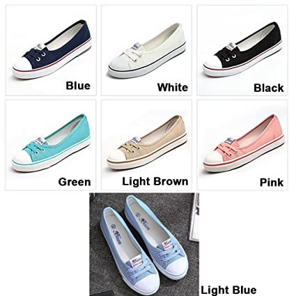 f7e7bd2325affe Amazon.com  Wyhui Women Casual Canvas Work Flats Loafers Slip On Woman s  Flats Soft Fashion Boat Shoes Blue 40  Home   Kitchen