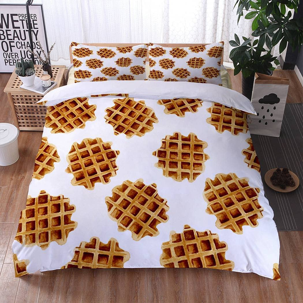 MOOTFAY Brown Cookie Duvet Cover Set, Watercolor Breakfast Food Waffle Zipper Closure Ultra Soft Microfiber Bed Cover 3-Piece 1 Duvet Cover + 2 Pillow Shams Bedding Set, Queen Size