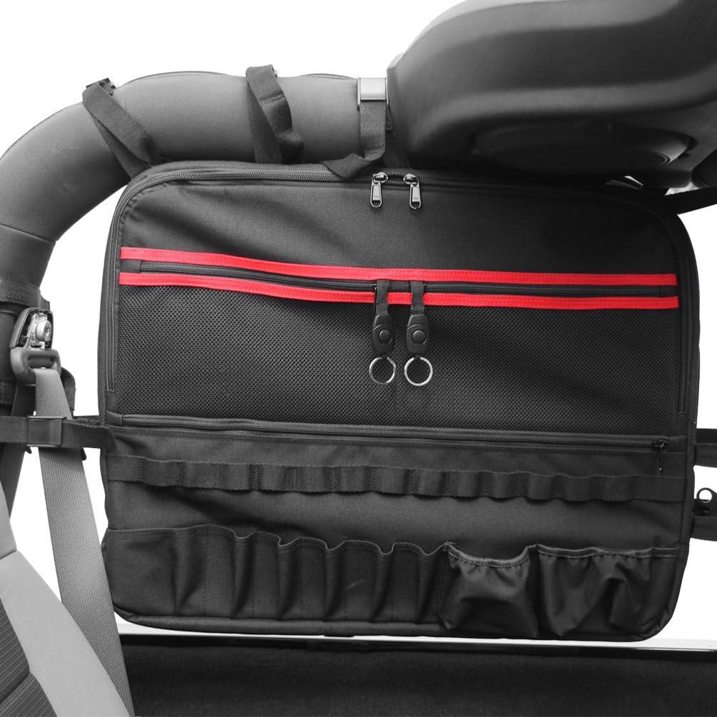 SUNPIE 2X Roll Cage Multi-Pockets Storage /& Organizers /& Cargo Bag Saddlebag for 2007~2017 Jeep Wrangler JK 2-Door Tool Kits Bottle Drink Phone Tissue Gadget Holder