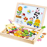 Bino 88117 Puzzel, 102 stuks, met dubbelzijdig magneetbord, viltstift, gum en krijt. voor kinderen vanaf 3 jaar…
