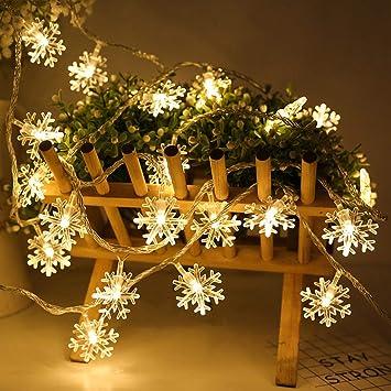 Cadena De Luces Led Navidad Deajing Cadena De Bombillas Guirnaldas Luminosas Guirnalda Luces Exterior Para JardíN Patio Fiesta Forma de Copos de Nieve Luces De Cadena: Amazon.es: Bricolaje y herramientas