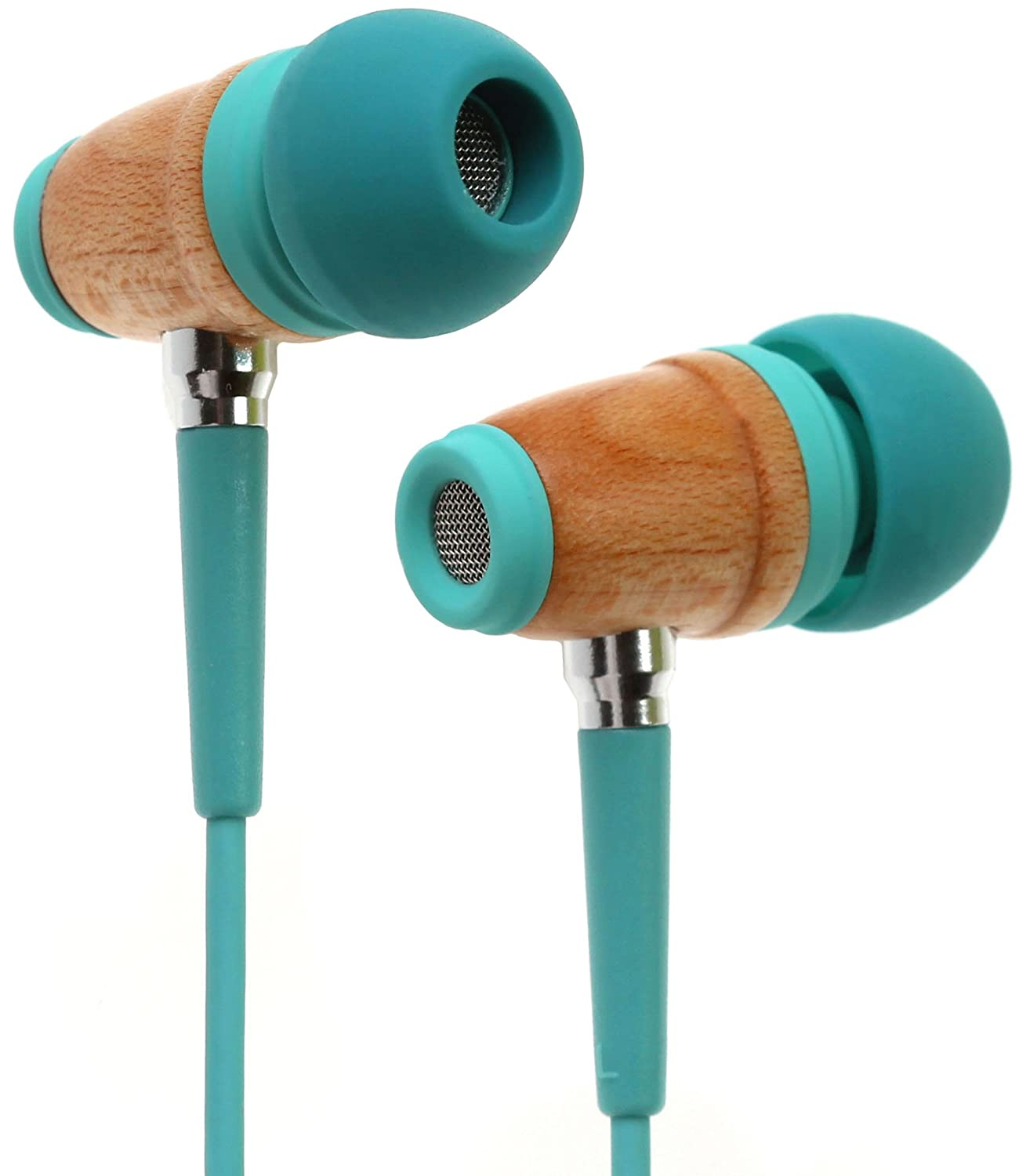 Symphonized Kids Volume Limited Premium Wood in-Ear Noise-isolating Headphones, Earbuds, Earphones with Mic (Seafoam Green)