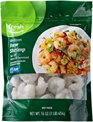 Fresh Brand – Raw Medium Peeled & Deveined Tail Off Shrimp (41-50 Count/Pound), 1 lb (Frozen), Responsibly Sourced, Phosphate