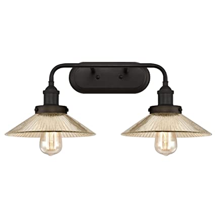 Westinghouse 6336200 bonnie two light indoor wall fixture oil rubbed bronze finish with ribbed