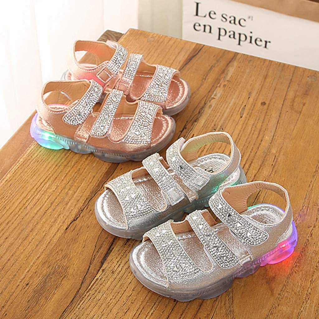 Dsood Girl Outdoor Sandals,Children Baby/ Girls Crystal Led Light Luminous Run Sport Sandals Sneakers Shoes,Boys Fashion,Silver
