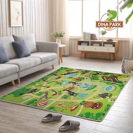Soft Polyester Bedside Rectangular Rug 50cmx80cm Cartoon Dinosaur Childrens Toy Game Mat Exquisite Carpet