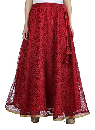 efedb94d5 Indian Handicrfats Export Women's Net Double Layer Long Skirt  (SKT1407_Red_Freesize) at Amazon Women's Clothing store: