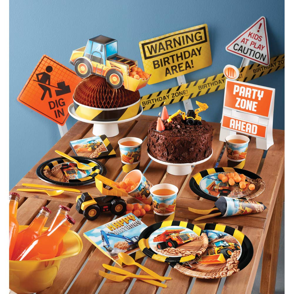 Construction Vehicles Paper Plates and Napkins Set - 64 Total Pieces (Service for 16 People) Featuring Construction Trucks Theme - Great Value by RLP Marketing LLC