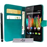 Etui Housse Luxe Turquoise Portefeuille Wiko Kite 4G + STYLET et 3 FILM OFFERT!!