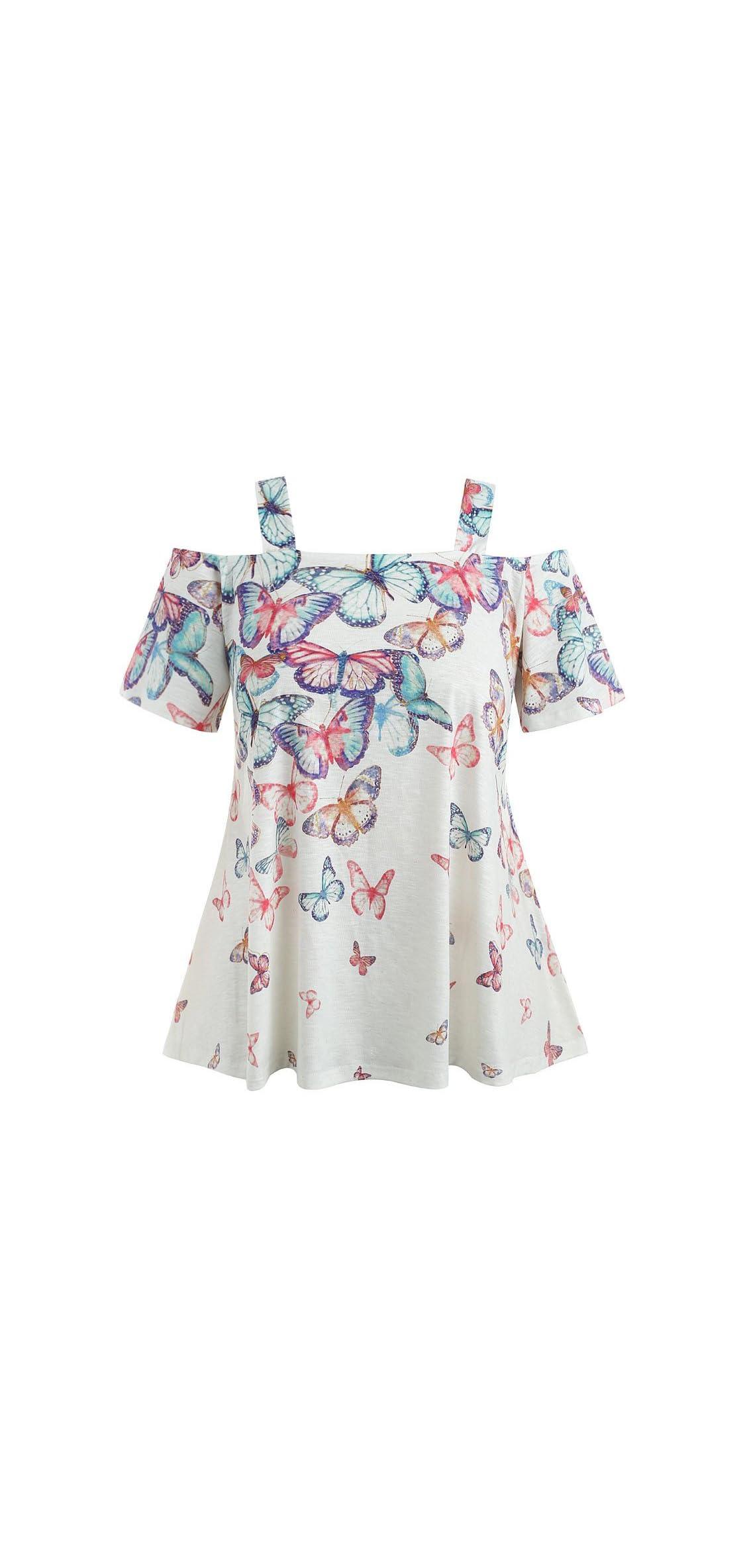 Women Off Shoulder Plus Size Butterfly Short Sleese Tops