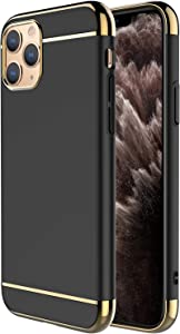 """iPhone 11 Pro Case,RORSOU 3 in 1 Ultra Thin and Slim Hard Case Coated Non Slip Matte Surface with Electroplate Frame for Apple iPhone 11 Pro (5.8"""")(2019) - Black and Gold"""