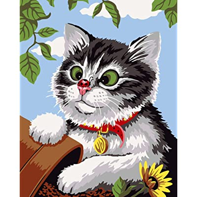 Greek Art Paintworks Paint Color By Number Kits,Naughty Cat,16-Inch by 20-Inch: Toys & Games