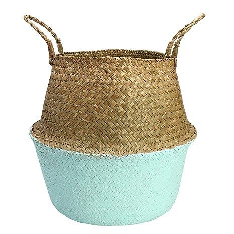 Natural Seagrass Woven Basket Storage Organizer Flower Plant Pot Holder Bag Box