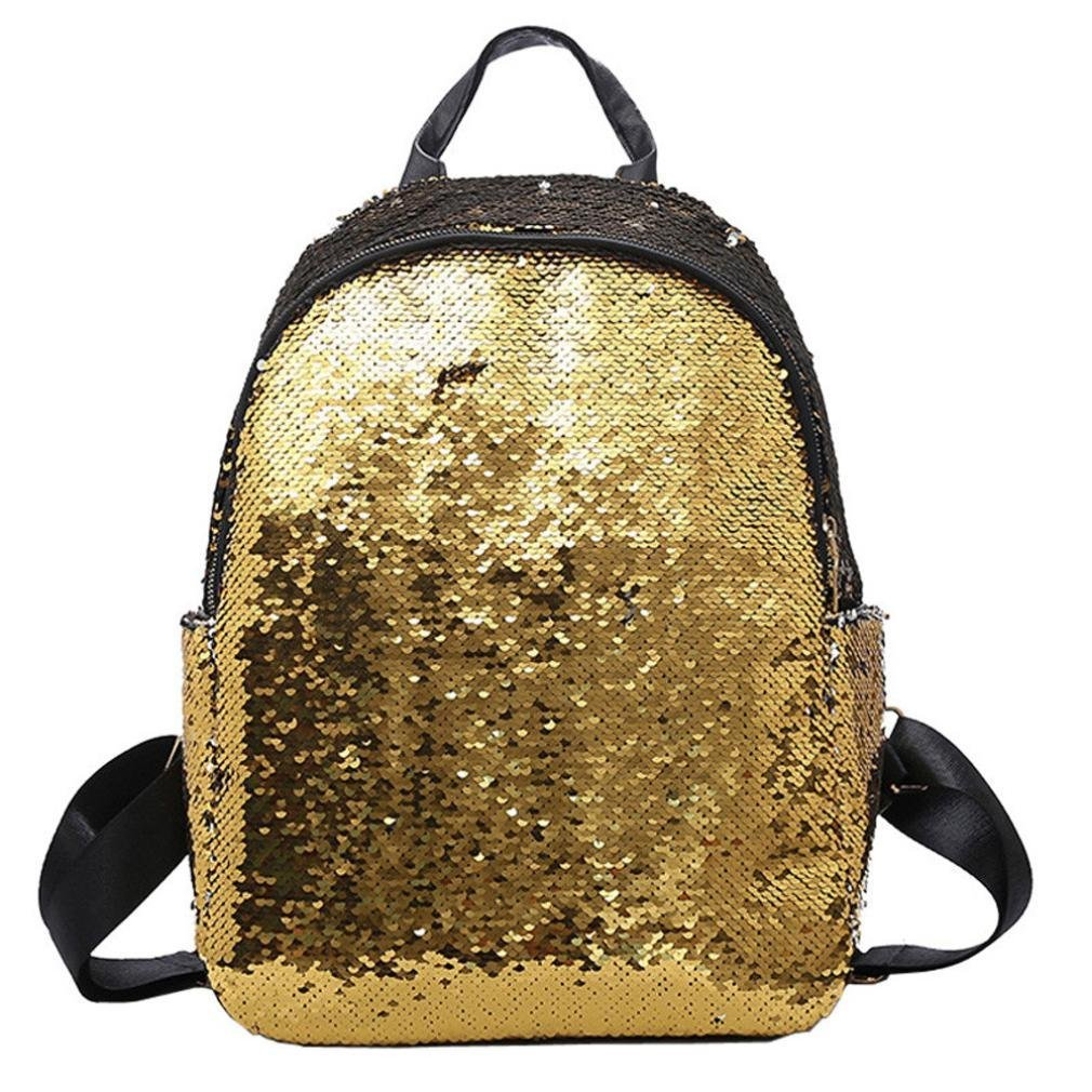 Outsta Fashion Sequins School Bag, Girl Backpack Satchel Student Travel Shoulder Bag Classic Basic Casual Daypack (Gold) by Outsta
