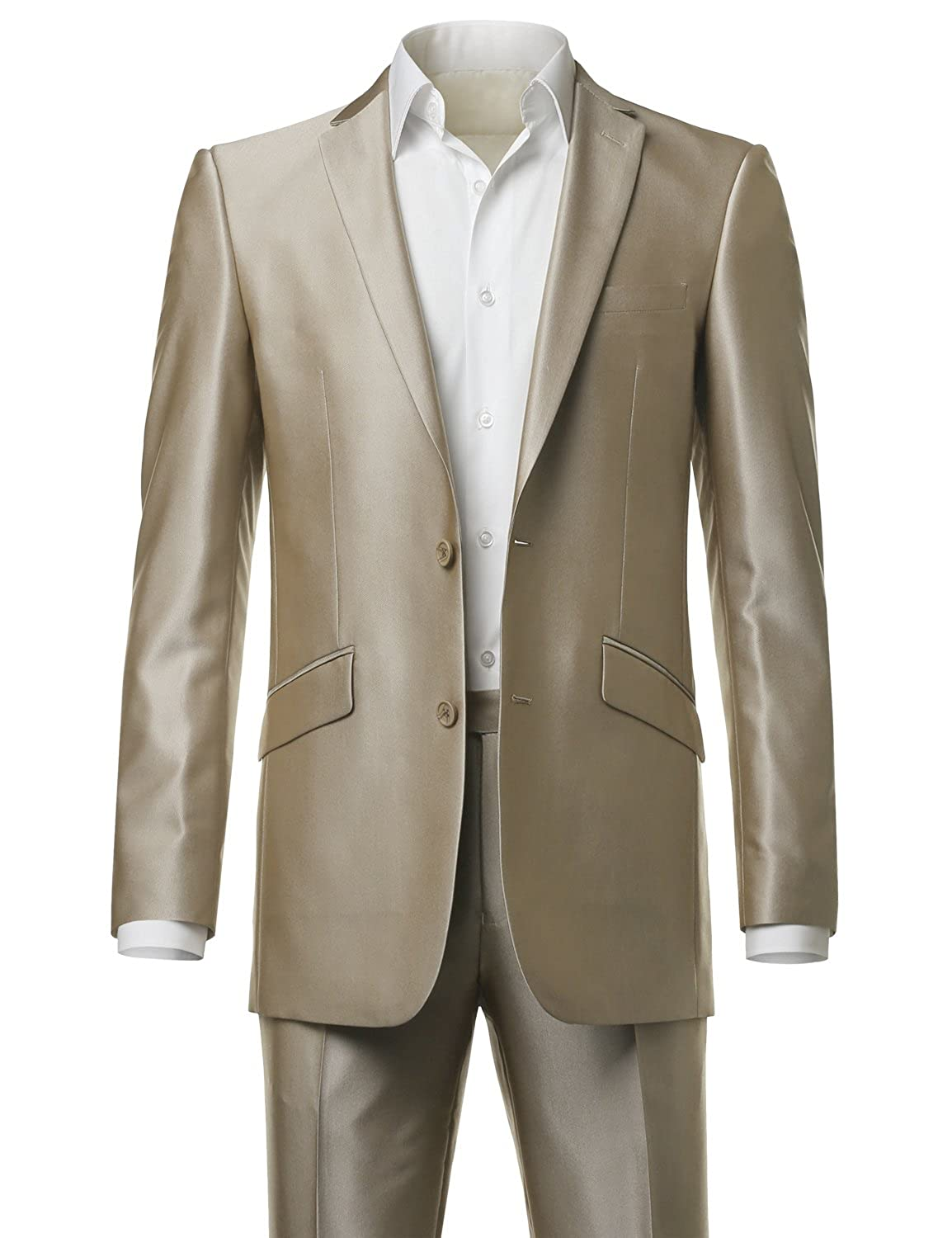 MONDAYSUIT Mens Shiny Two-Piece Slim-Fit 2-Button Blazer Jacket & Trouser Set