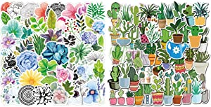 95pcs Stickers of Watercolor Cactus Succulent Plants Green Plants Oxygen Plant Foliage Botanical for Laptop Scrapbook Water Bottle Phone Waterproof Decals Aesthetic Vinyl Stickers for Teens Girl