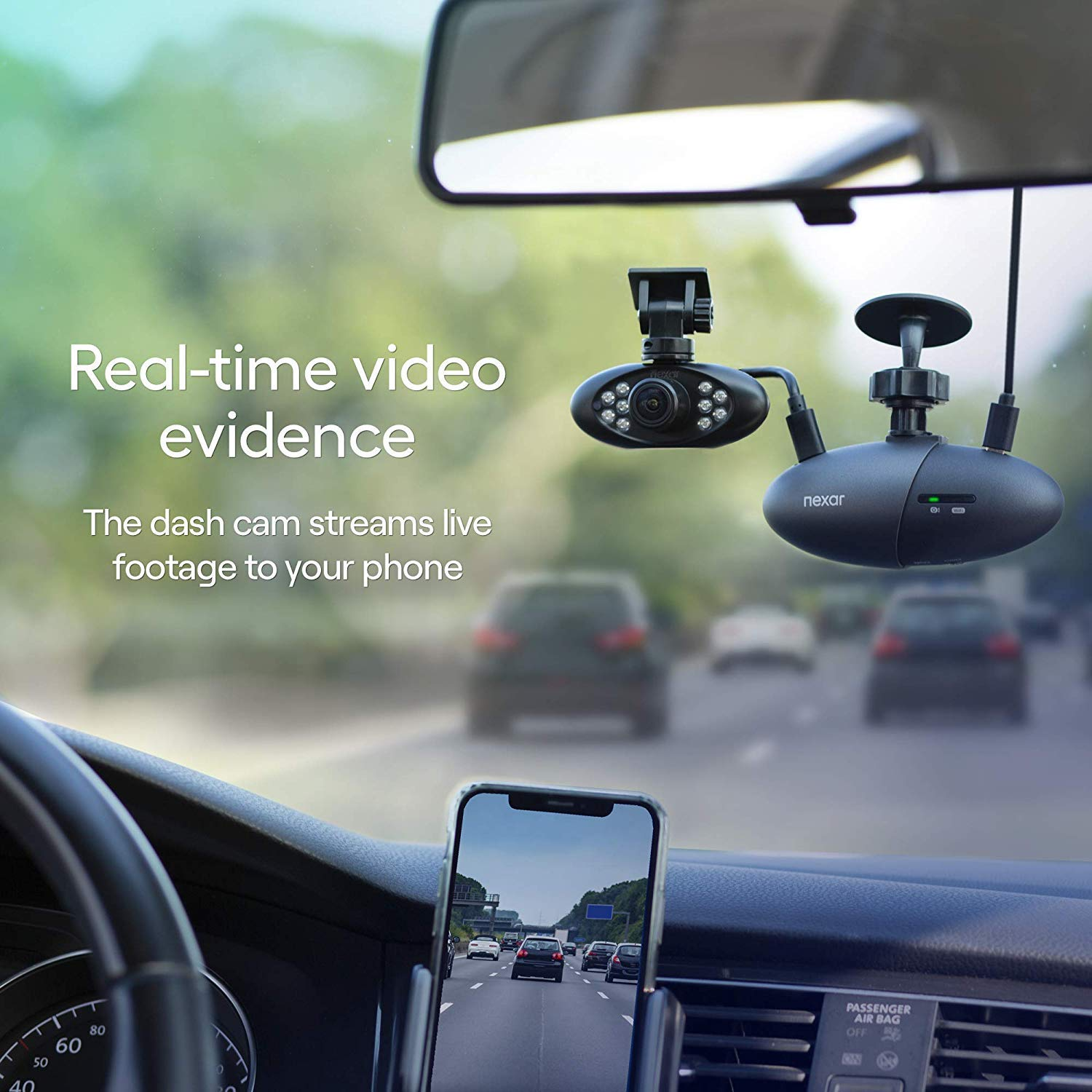 WiFi SD Card and Unlimited Cloud Storage Nexar Pro Dual Dash Cam for Uber /& Lyft Drivers Road /& Interior Recording