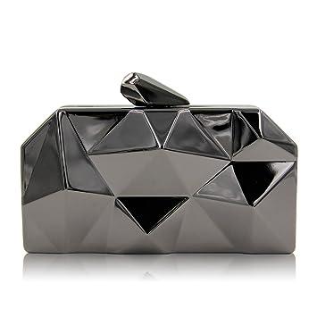 KYS Personalidad Hexagon Mini Party Iron Box Embrague Bolso de Noche Irregular Mano geométrica Que sostiene el Bolso de Noche, Black: Amazon.es: Deportes y ...