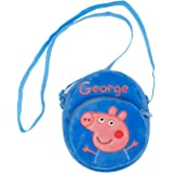 HXQ Pink Peppa Pig purse Lovely Little Shoulder Bags, plush circle Crossbody Bags for Kids