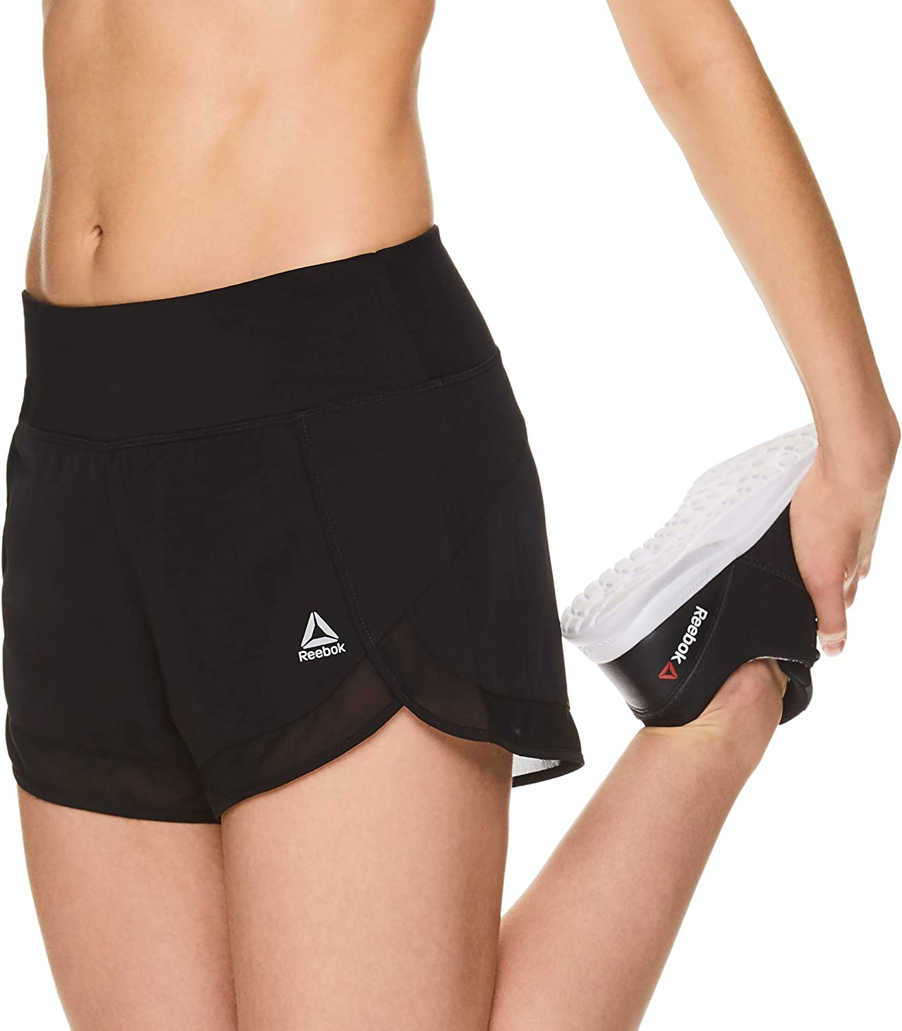 Reebok Women's Running Shorts, Relaxed Fit and Mid-Rise Waist Training Shorts w/ Liner - 3 1/4 Inch Inseam : Clothing