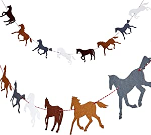 4 Pieces Horse Garland Banner Horse Racing Streamer Horse Party Garland for Horse Racing Birthday Wedding Party Decoration, Pre-assembled