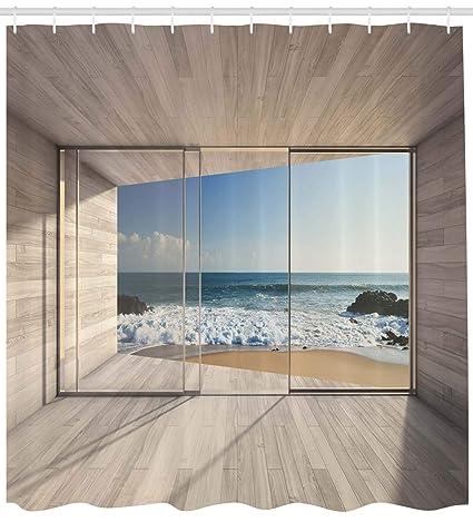 ABAKUHAUS Moderno Cortina de Baño, Moderna Sala de Estar Vacía con Gran Ventana y Vista