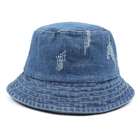 fb3c469ad38cf Image Unavailable. Image not available for. Color  Blue Stones Women Men  Bonnie Bucket Hat Denim Distressed Brim Visor Sun Shade Fishing Packable  Summer