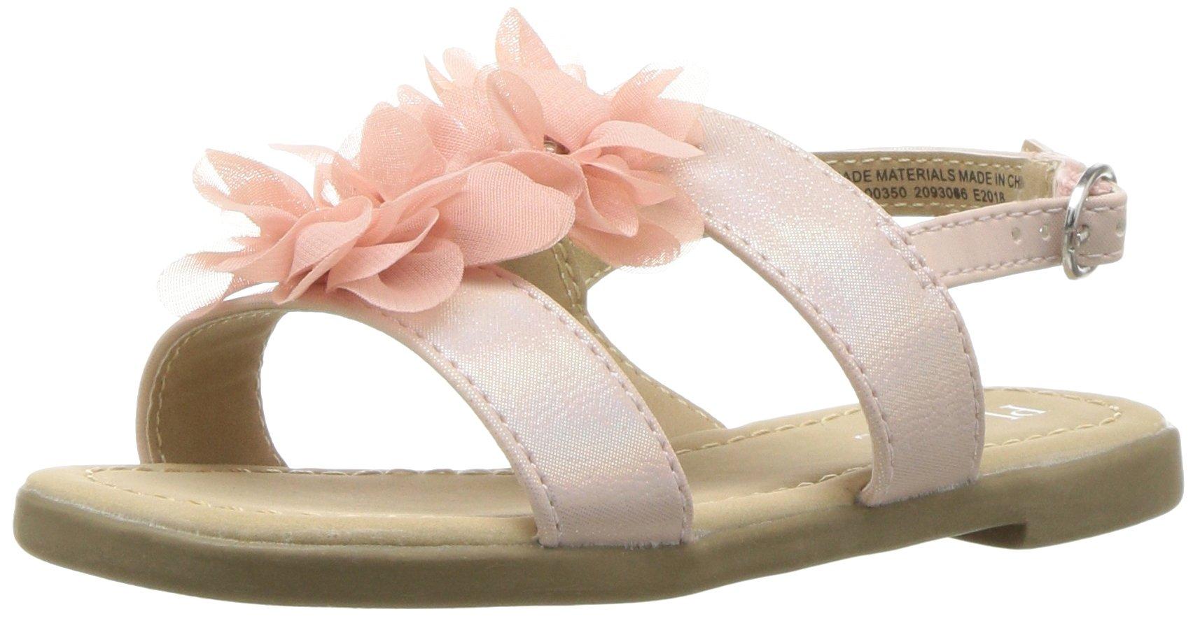 The Children's Place Girls' Flat Sandal, Pink-Slipper-1, TDDLR 11 Medium US Big Kid