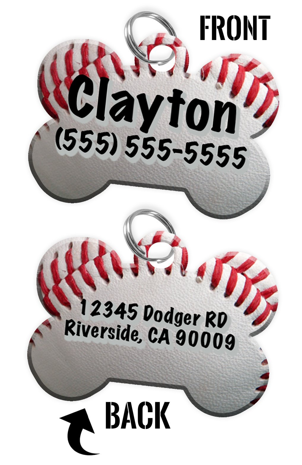 Double-Sided Baseball Dog tag personalized for pets with Name & Contact Number (Front) & address or other text (Back) [Multiple Font Choices] [USA COMPANY]