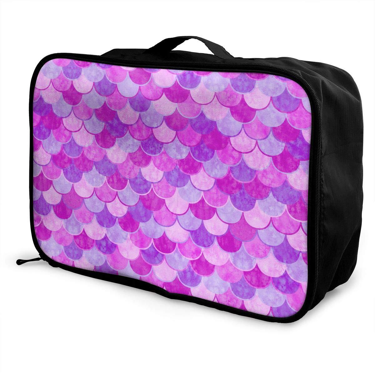Pink Mermaid Scale Travel Duffel Bag Casual Large Capacity Portable Luggage Bag Suitcase Storage Bag Luggage Packing Tote Bag Weekend Trip
