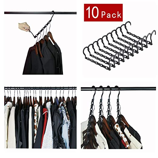 Trouser Jeans Etc Cascading Hanger organizer for Clothing Wardrobe,Closet Space Hanger organizer Saver Pack of 10 Pack with Sturdy Plastic Hanger Clothes Hangers Organizer for Heavy Clothes