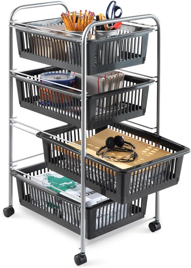 35 X Metal Metaltex Basilea Multiusos carro con cestas de almacenamiento de cuatro Plata