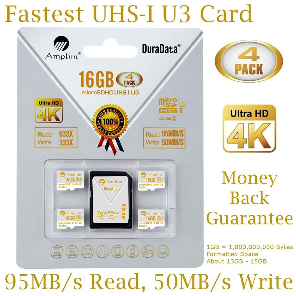Amplim 4 Pack 16GB Micro SDHC U3 Card Plus SD Adapter Extreme Pro Class 10 UHS-I MicroSDHC 95MB/s Read, 50MB/s Write. Ultra High Speed HD UHD 4K Video. Internal/External MicroSD Flash Memory Storage by Amplim (Image #1)