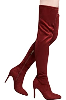 aa6c13bf38f3 HerStyle Ellinnaa Faux suede thigh high stiletto boots