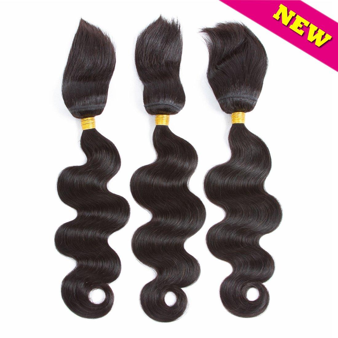 Braid in Bundles Unprocessed Brazilian Virgin Hair Body Wave 3 Bundles 120g/Pc No Glue No Thread Braid in Virgin Human Hair Extensions (12 12 12) Ltd